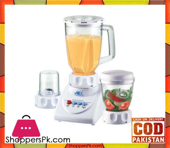 Anex AG-695UB - 3 in 1 - Deluxe Blender with Grinders - White - Karachi Only