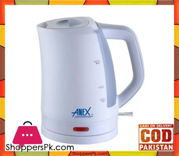 Anex AG-4028 - Deluxe Kettle With Concealed Element - 1.7 Litres - White - Karachi Only