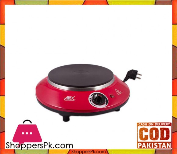 Anex AG-2065 - Deluxe Hot Plate - Red & Silver - Karachi Only