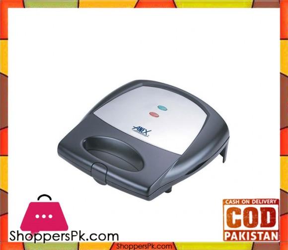 Anex Sandwich Toaster - AG-1038C - Black & Silver - Karachi Only