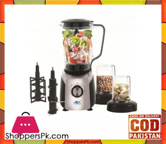 Anex AG-6030 - 4 in 1 Blender Grinder w/ Ice Crusher - Silver & Black - 800 Watts - Karachi Only