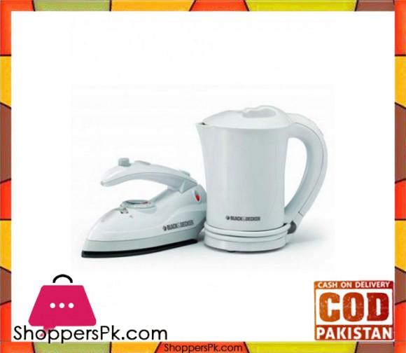 Black & Decker Travel Kettle & Iron - White - TK-200 - Karachi Only