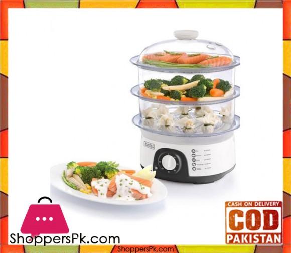 Black & Decker HS -6000-B5 - 3 Tier Food Steamer - White - Karachi Only