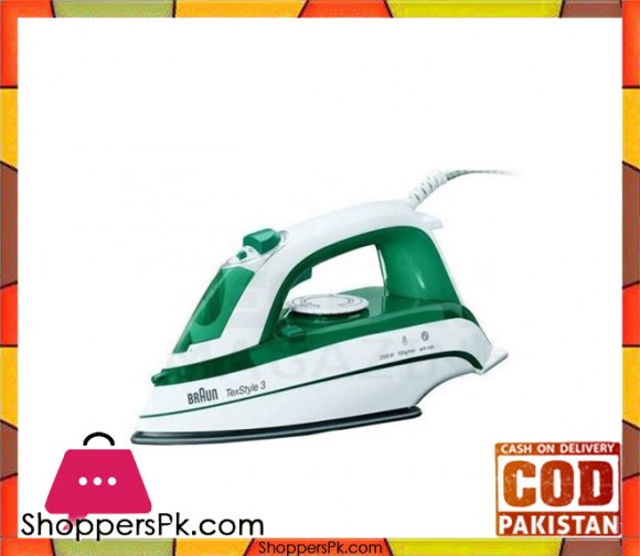 Braun Steam Iron - TS-345 - White & Green - Karachi Only