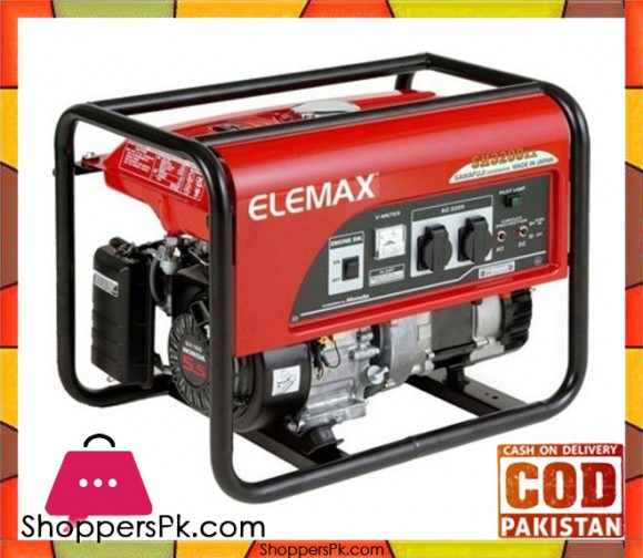 Elemax Petrol & Gas Generator (ELECTRIC START WITH BATTERY) SH3200EX - 2.6 KVA - Red - Karachi Only