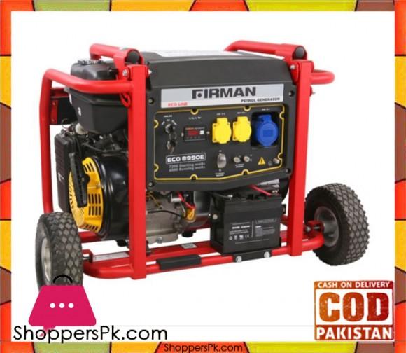 Firman Petrol Generator 7.2 kW - ECO8990E - Eco Line - Black & Red - Karachi Only