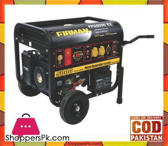Firman Petrol Generator 5 kW - FPG8000E2 - FPG Line - Black - Karachi Only