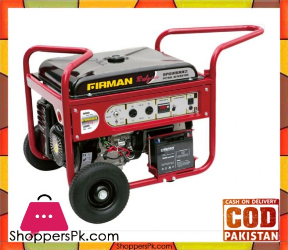 Firman  Petrol & Gas Generator 6.5 kW - SPG8600E2 - Ruby Line - Red & Black - Karachi Only