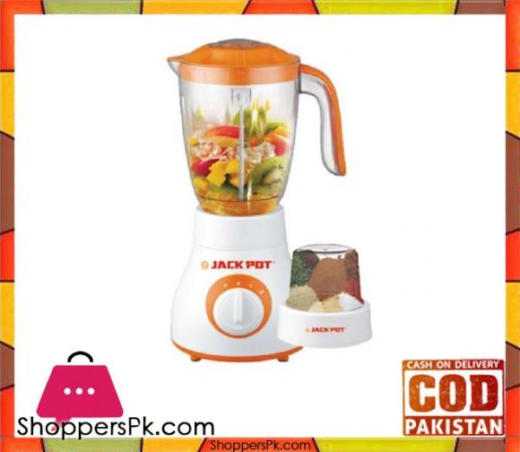 Jack Pot - Turbo Blender with Dry Mill - 2 in 1 - Orange & White (Brand Warranty) JP-7370 - Karachi Only