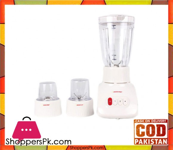 Jack Pot JP-729 - Blender 1.5 Litre Jug with Dry and Wet Grinder - White (Brand Warranty) - Karachi Only
