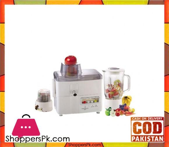 Jack Pot JP-1177 - Juicer, Blender & Grinder - 3 in 1 - White (Brand Warranty) - Karachi Only