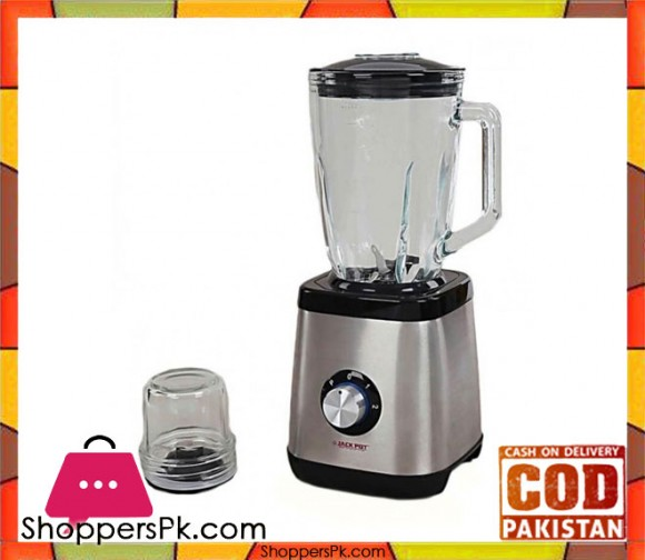 Jack Pot - Blender with Crystal Clear Glass Jug & Dry Grinder - Black & Silver JP-608 - Karachi Only