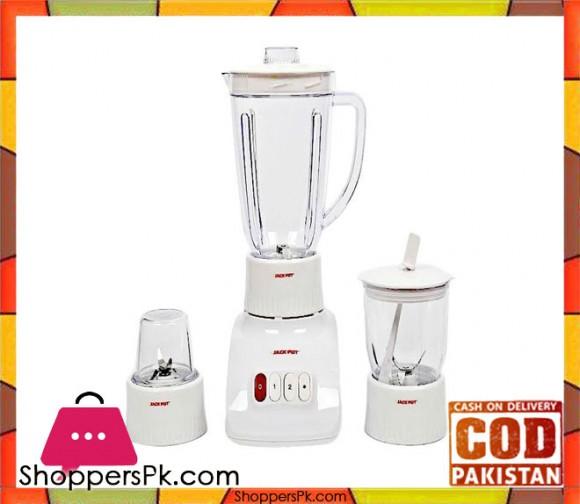 Jack Pot Blender with Dry & Wet Grinder - White - Karachi Only