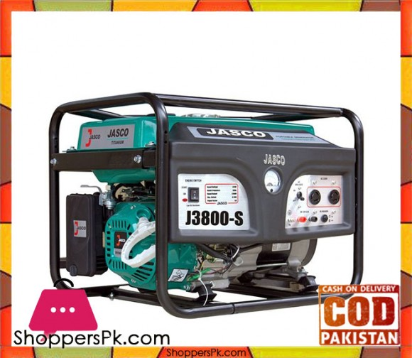 JASCO Self Start Petrol Generator 3.1 KW - J3800 - Green - Karachi Only