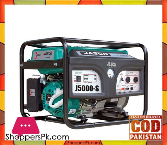 JASCO Self Start Petrol Generator 4.5 KW - J5000 - Green - Karachi Only