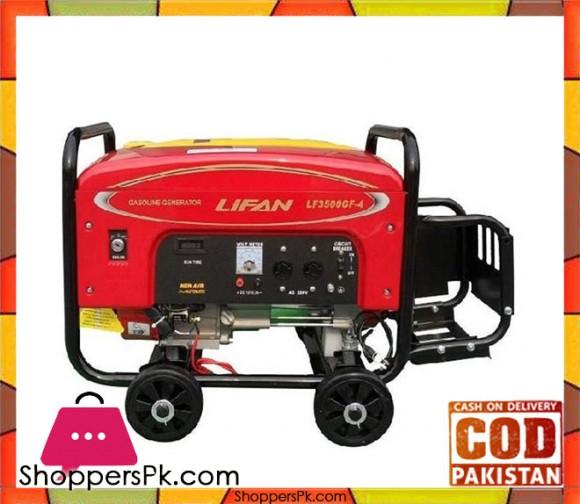 Lifan Petrol & Gas Generator 7.5 KW - LF10000GF-4 - Red - Karachi Only