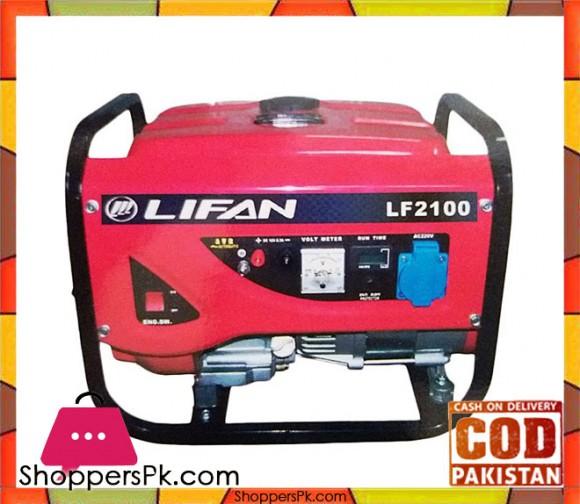Lifan Petrol & Gas Generator 1.2 kW - LF2100GF-3 - Red - Karachi Only