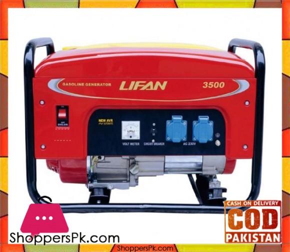 Lifan Petrol & Gas Generator 2.7 KW Recoil Start - LF3500GF-3 - Red - Karachi Only