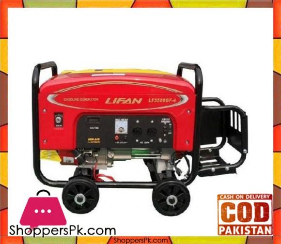 Lifan Petrol & Gas Generator 2.7 KW - LF3500GF-4 - Red - Karachi Only