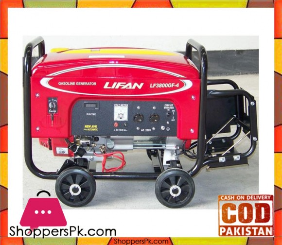 Lifan Petrol & Gas Generator 3 KW - LF3800GF-4 - Red - Karachi Only