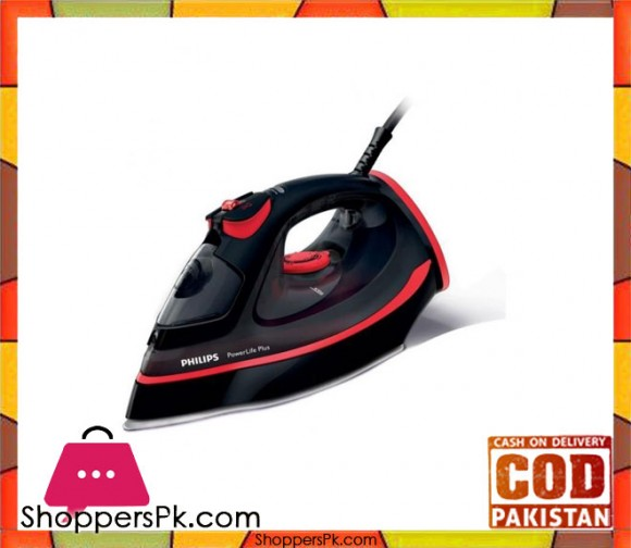 Philips Power Life Plus Steam Iron - Black & Red - Karachi Only