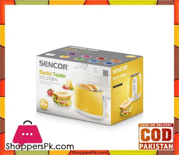 Sencor STS 2706YL - Toaster - 800Watt - Yellow (Brand Warranty) - Karachi Only