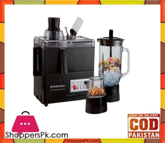 Westpoint Deluxe Juicer, Blender & Dry Mill - WF-8823 - 750 Watts - Black - Karachi Only