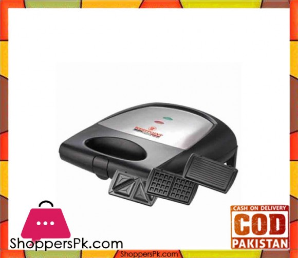 Westpoint 4 Slice Sandwich Maker with Grill WF-6093 - Black (Brand Warranty) - Karachi Only