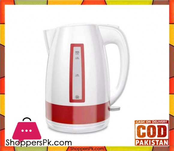 Westpoint WF-8268 - Deluxe Cordless Kettle - White & Red - 1.7 Liter Concealed Element Plastic Body - Karachi Only