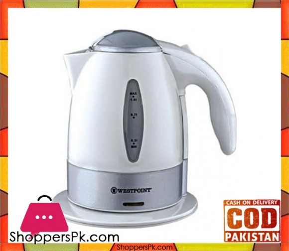 Westpoint WF-409 - Deluxe Cordless Kettle - 1 Liter - Concealed Element Plastic Body White & Grey - Karachi Only