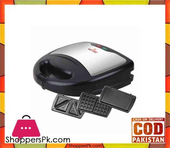 Westpoint WF-6193 - 4 Slice Sandwich Maker With Grill - Black & Silver - Karachi Only