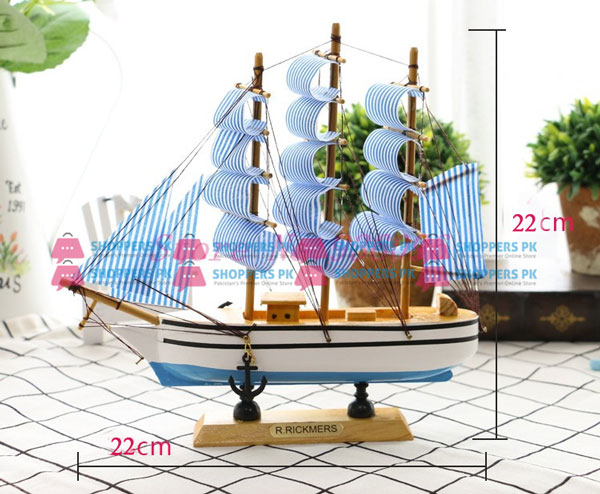 Wooden sailboat pirate ship home decor 22 cm large for Ship decor home