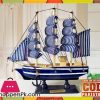 Wooden Sailboat Pirate Ship Home Decor - 22 cm - Large