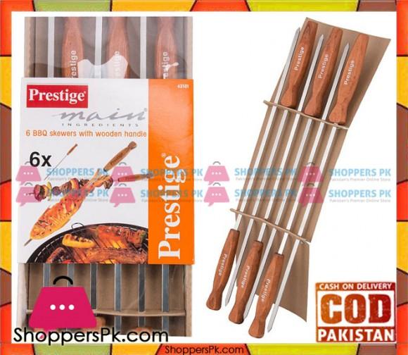 Prestige 6 BBQ Skewers with Wooden Handle 42101
