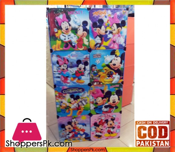 3D Mickey Mouse Portable 6 Cube Cabinet with 1 Cloth Hanging