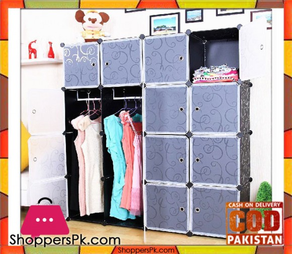 Intelligent Plastic Portable Cube Cabinet - 10 Cubes with 2 Cloth Hanging