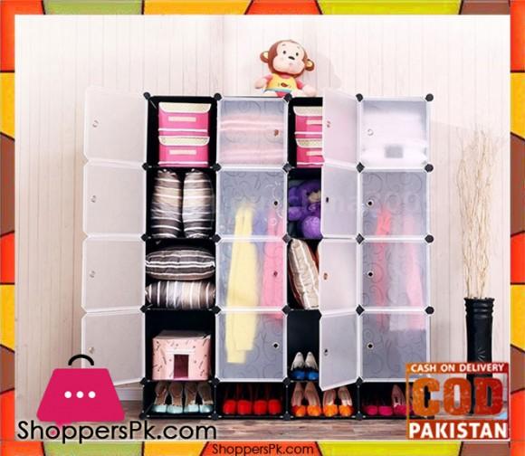Intelligent Plastic Portable Cube Cabinet -16 Cube + Shoe Rack