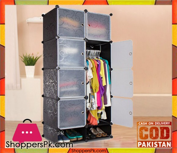 Intelligent Plastic Portable Cube Cabinet - 8 Cube with 1 Cloth Hanging + Shoe Rack