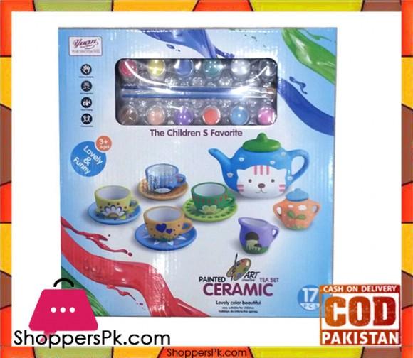Children Toy Tea Set Ceramic Painting 17 Pcs