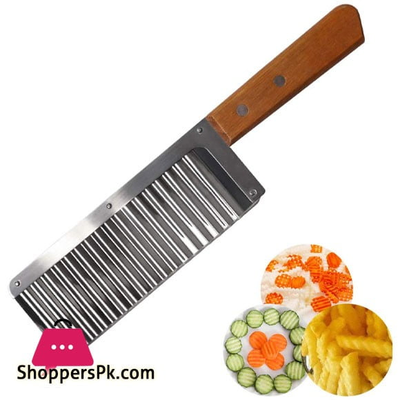 Crinkle Cutter Knife Wood Handle 1 Pcs