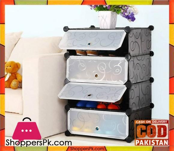 Intelligent Plastic Portable Cube Cabinet - 4 cubes