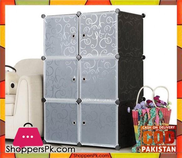 Intelligent Plastic Portable Cube Cabinet - 6 Cubes