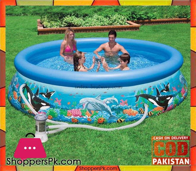 Buy intex inflatable ocean reef printed pool 12 feet x 30 inch 54906 at best price in pakistan for Intex swimming pools prices in pakistan