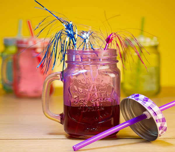 Mason Jar Check Led & Colour Straw