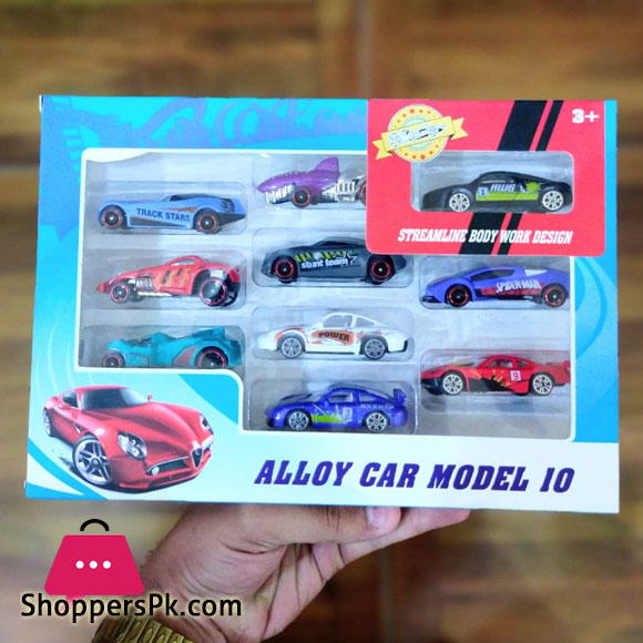 Pack of 10 - Metallic Dinky Sports Cars - Multicolor