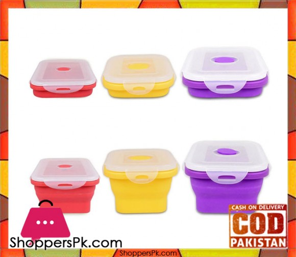 3 Foldable Silicone Folding Food Boxes Storage Containers