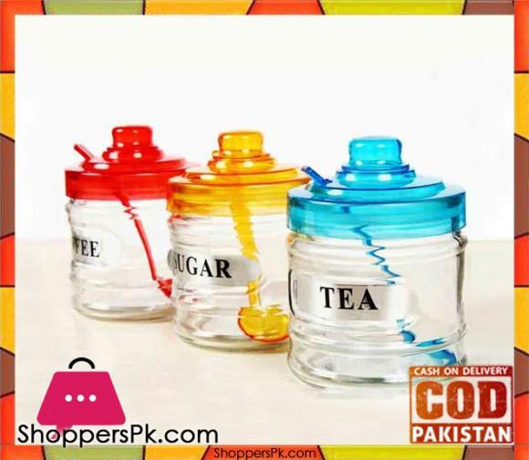 3 Pieces Glass Jar Set