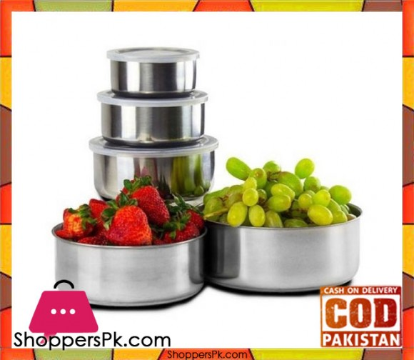 Stainless Steel Storage Bowl Set with Clear Plastic Lids