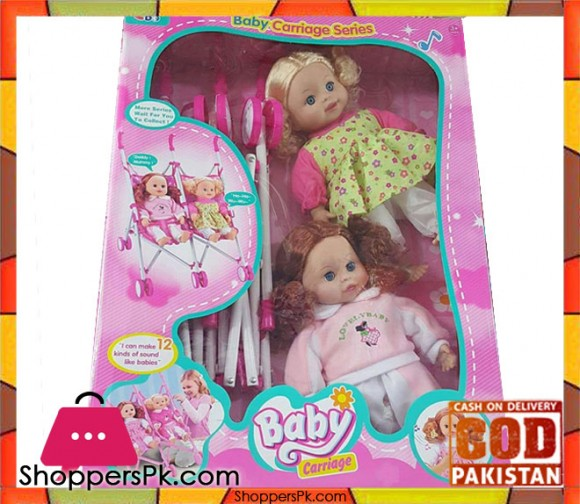 Baby Carriage Double Doll with Sound