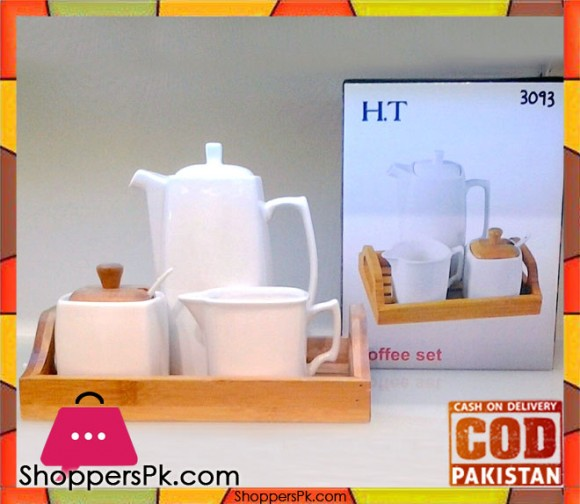 H.T Coffee Set With Wooden Tray
